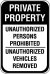 18X24 PRIVATE PROPERTY UNAUTHORIZED