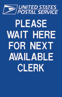 Two Sided Sign Please Wait Here For Next Available Clerk