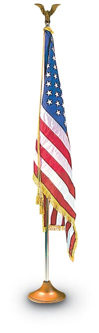 3' x 5' Indoor Flag Set - Gold Anodized Pole