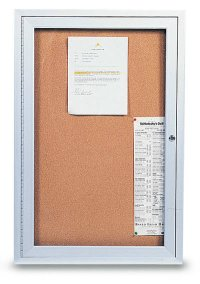 "24"" x 36"" 1 Door Outdoor Enclosed Illuminated Corkboard"