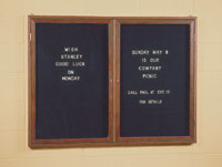 "72"" x 36"" Wood Enclosed Letterboard - 3 Doors"