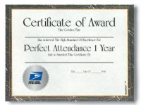 Perfect Attendance Certificate - 4 Years
