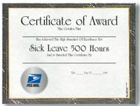 Sick Leave Certficate - 500 Hours