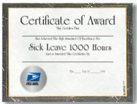 Sick Leave Certificate - 1,000 Hours
