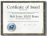 Sick Leave Certificate - 2,000 Hours