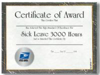 Sick Leave Certifcate - 3,000 Hours