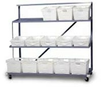 3 Shelf Flat Tub Distriobution Rack - Expanded Steel
