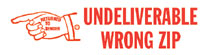Undeliverable Wrong Zip Rubber Stamp