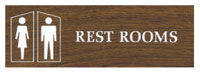 WOOD GRAIN INTN'L SYMBOL SIGN-REST ROOMS