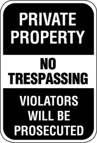 18X24 PRIVATE PROPERTY: NO TRESSPASSING