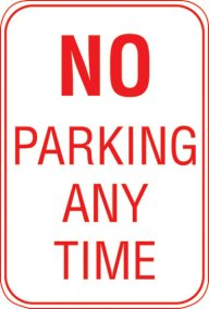12X18 NO PARKING ANY TIME
