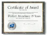 Perfect Attendance Certificate - 15 Years