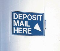 """Deposit Mail Here"" Sign - Right Arrow"