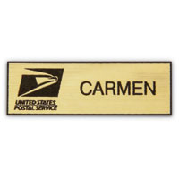Plastic Name Badge - Black Text on Gold Background (outline)
