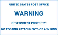 "6""X10"",WARNING GOVERNMENT PROPERTY"