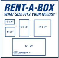 "24"" x 24"" Rent-A-Box Sign - Blue on White"