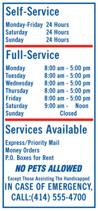 "18"" x 48"" Services Sign - Blue on White"