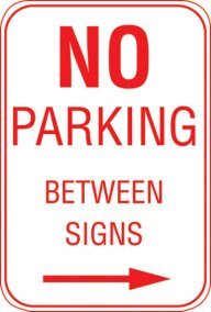 12X18 NO PARKING BETWEEN SIGNS --->