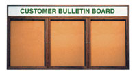 "72"" x 36"" Wood Enclosed Corkboard + Header - 3 Doors"