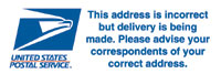 "Postal Label ""This Address is Incorrect"""