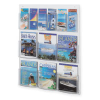 Wall-Mount Literature Rack - 6 Magazine & 12 Pamphlet Pockets