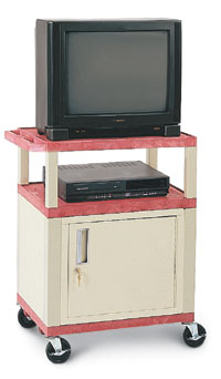 "34""H Plastic Utility Cart with Cabinet"