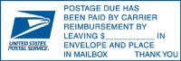 Postage Due Has Been Paid By Carrier...