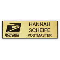 Plastic Name Badge - Black Text on Gold Background