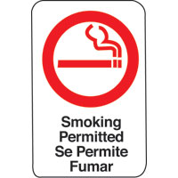 6X9 INTN'L SYMBOL SIGN-SMOKING PERMITTED