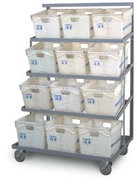 3 Shelf Flat Tub Distribution Rack - Expanded Steel