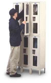 "Safety View Locker - 3 Wide/Single Tier, 12"" deep"
