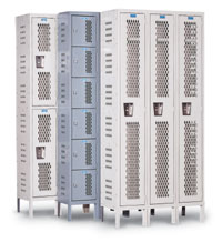 "Ventilated Lockers - 3 Wide, Double Tier, 36""W x 18""D"