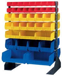 2-Sided 14 Rail Floor Stand with Bins