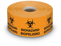 "Bilingual Biohazard Label 1,000 per roll 2""x 2"""