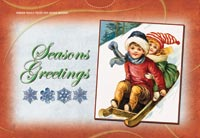 Sledding Children Postcard Puzzle (5 Pack)