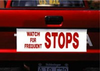 """Watch for Frequent Stops"" Magnetic Sign"