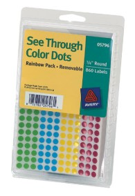 "1/4"" Assorted Removable Transparent Dots"