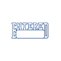 """Entered"" Blue Pre-Inked Small Counter Stamp"