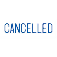 """Cancelled"" Blue Pre-Inked Small Counter Stamp"
