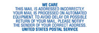 We Care - This Mail is Addressed Incorrect